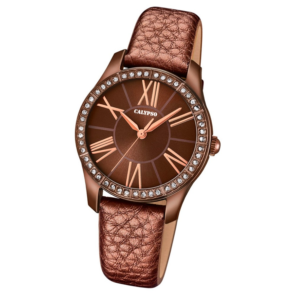 Calypso Damen-Armbanduhr Trendy analog Quarz Leder braun UK5719/6
