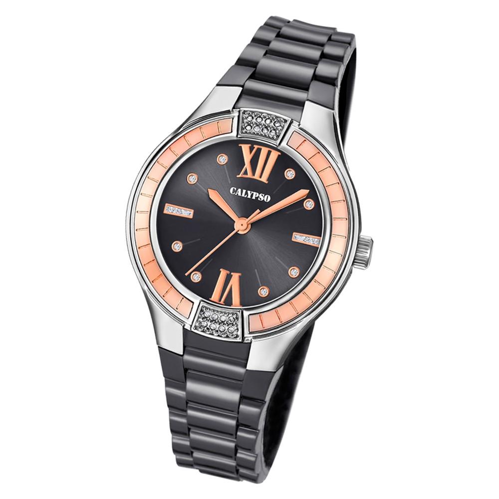 Calypso Damen Armbanduhr Trendy K5720/4 Quarz-Uhr PU schwarz UK5720/4