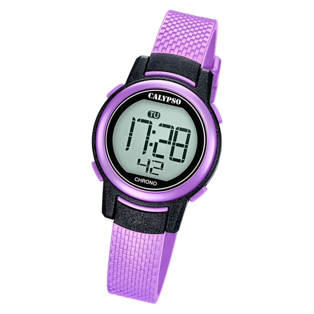 Calypso Kinder Armbanduhr Digital Crush K5736/4 Quarz-Uhr PU lila UK5736/4