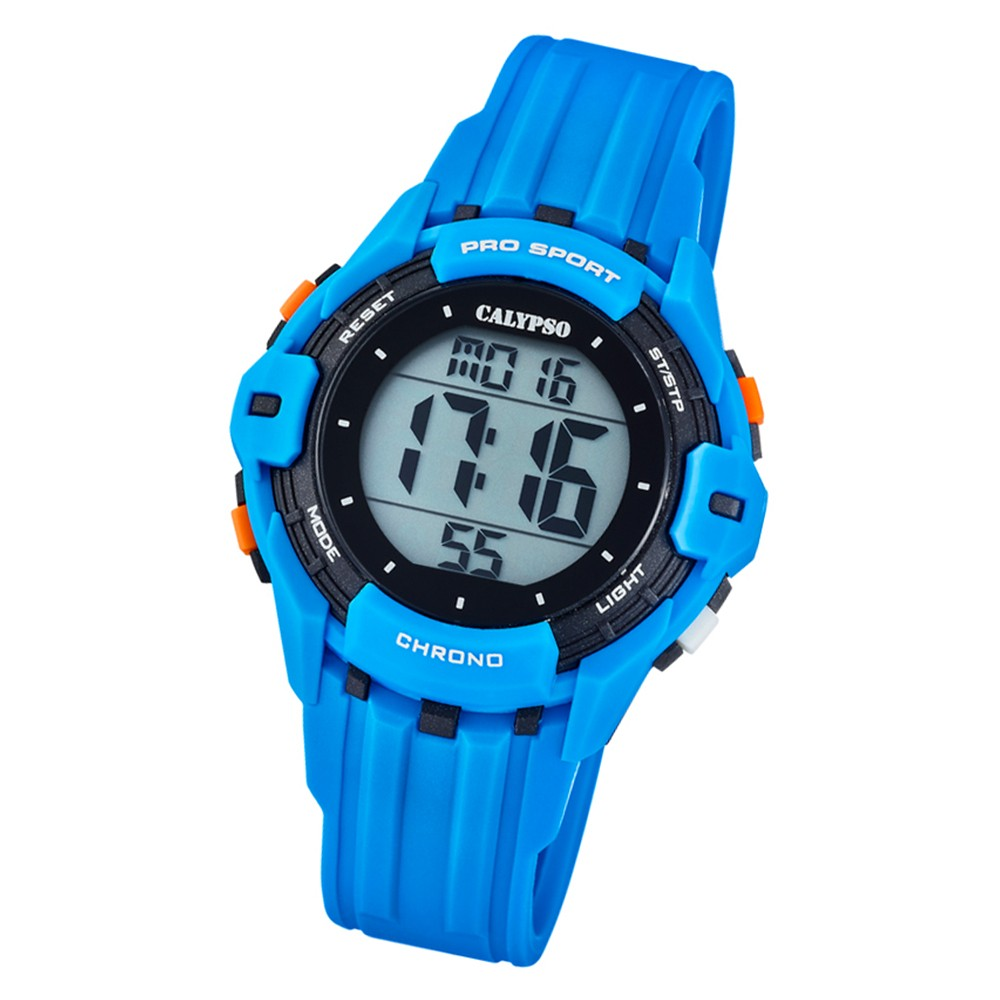 Calypso Kinder Armbanduhr Color Run K5740/2 Quarz-Uhr PU hellblau UK5740/2