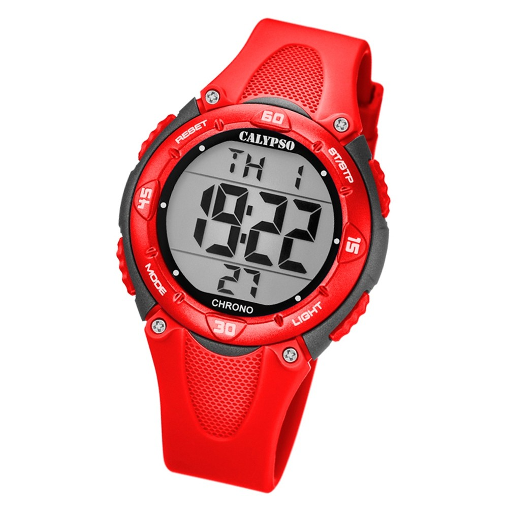 Calypso Kinder Armbanduhr Digital Crush K5741/6 Quarz-Uhr PU rot UK5741/6
