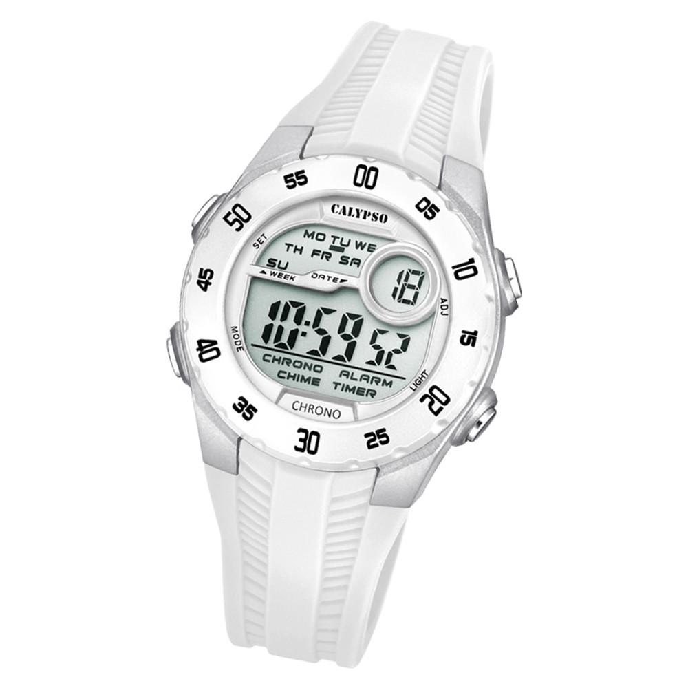 Calypso Kinder Armbanduhr Digital Crush K5744/1 Quarz-Uhr PU weiß UK5744/1