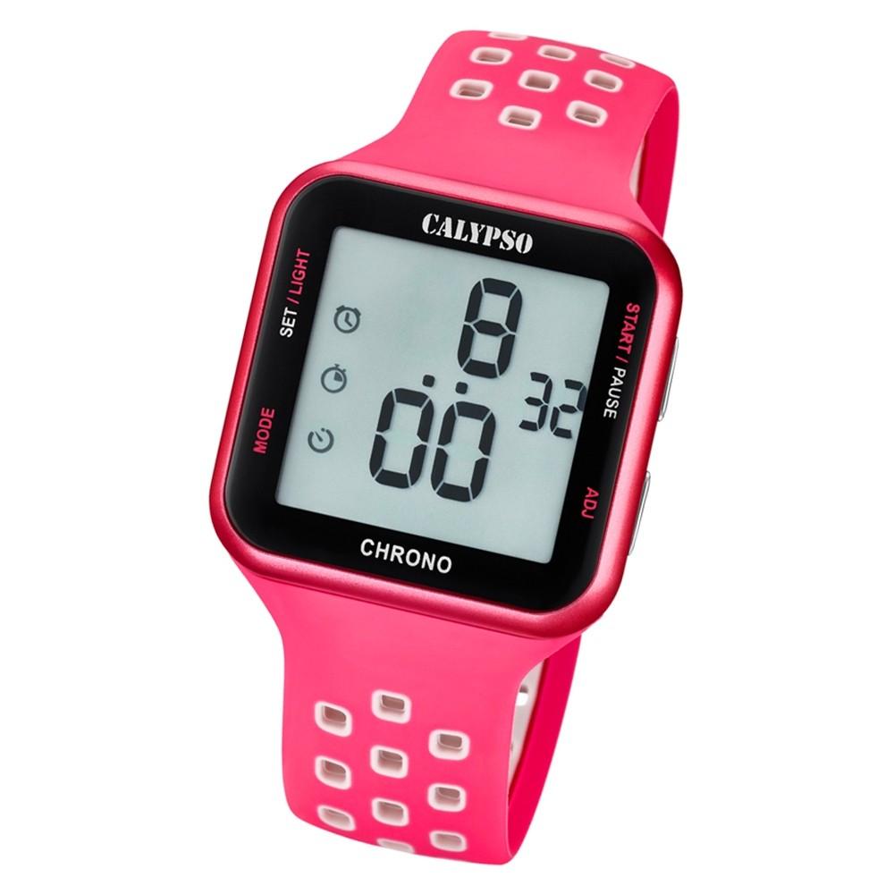 Calypso Unisex Armbanduhr Color Splash K5748/2 Quarz-Uhr PU rosa weiß UK5748/2