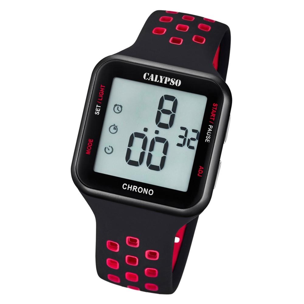 Calypso Unisex Armbanduhr Color Splash K5748/5 Quarz-Uhr PU schwarz UK5748/5