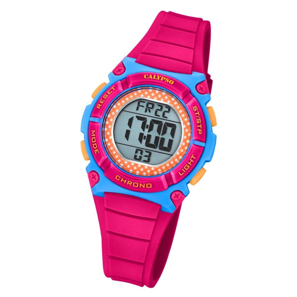 Calypso Kinder Armbanduhr Digital Crush K5756/6 Quarz-Uhr PU pink UK5756/6
