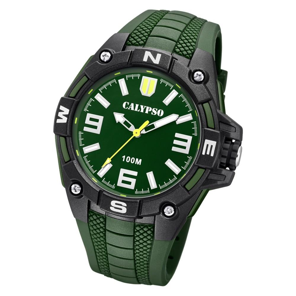 Calypso Herren Armbanduhr Street Style K5761/5 Quarz-Uhr PU grün UK5761/5
