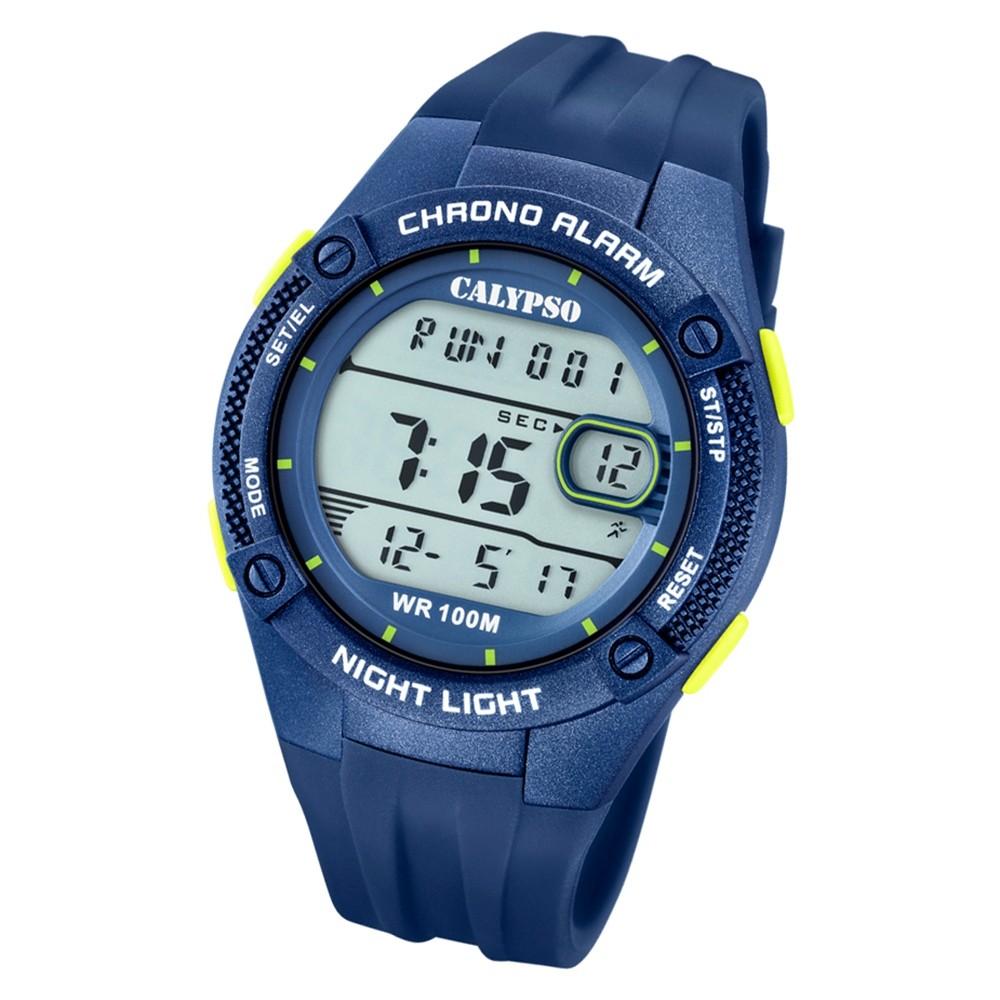 Calypso Herren Armbanduhr Digital Crush K5765/5 Quarz-Uhr PU blau UK5765/5