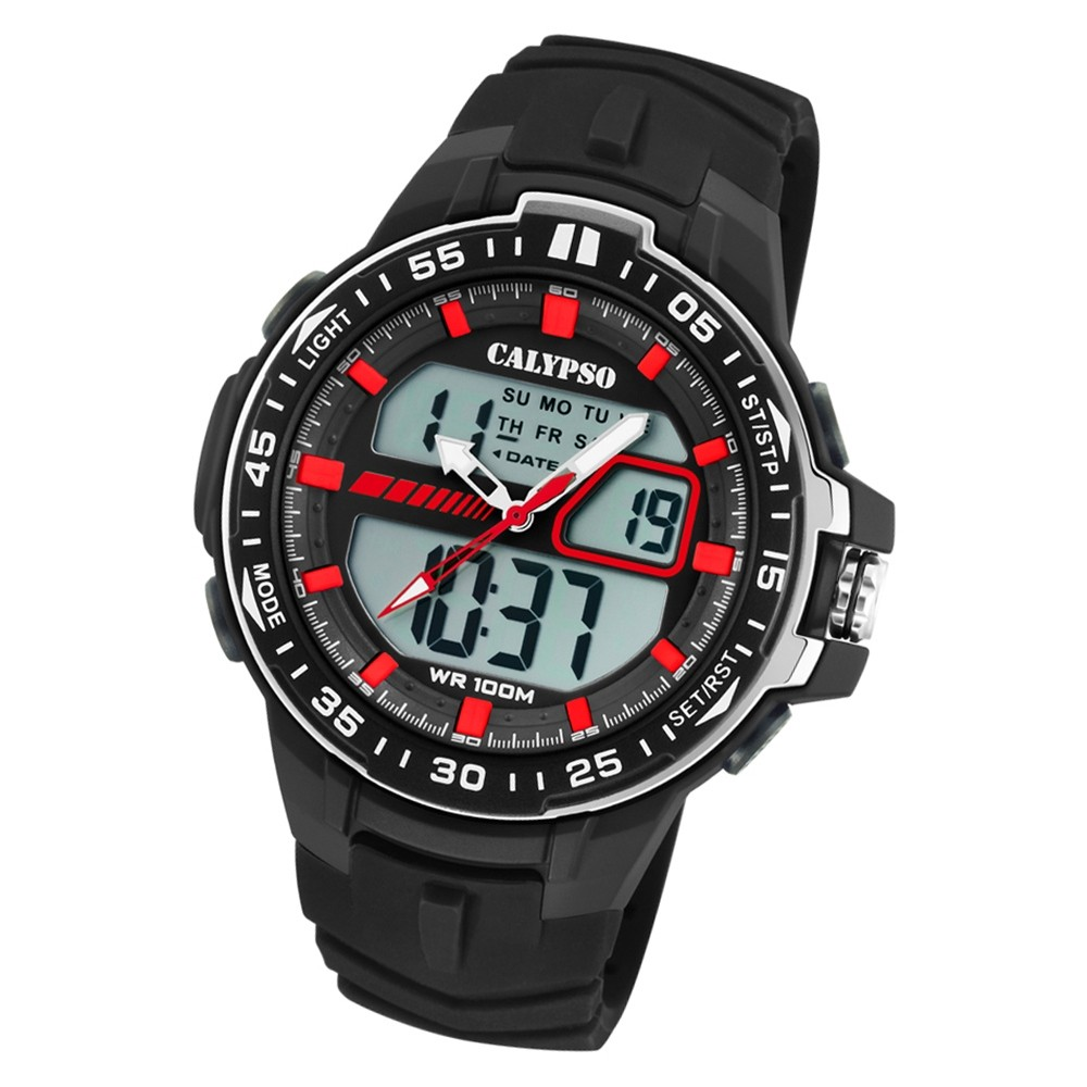 Calypso Herren Armbanduhr Street Style K5766/4 Quarz-Uhr PU schwarz UK5766/4