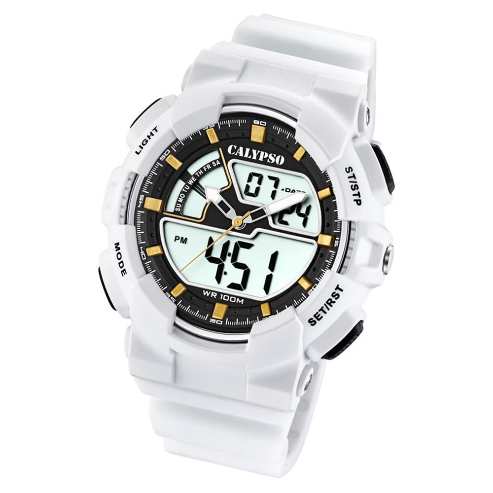 Calypso Herren Armbanduhr Street Style K5771/1 Quarz-Uhr PU weiß UK5771/1