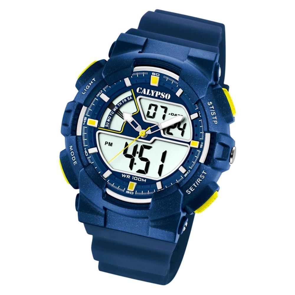 Calypso Herren Armbanduhr Street Style K5771/3 Quarz-Uhr PU blau UK5771/3
