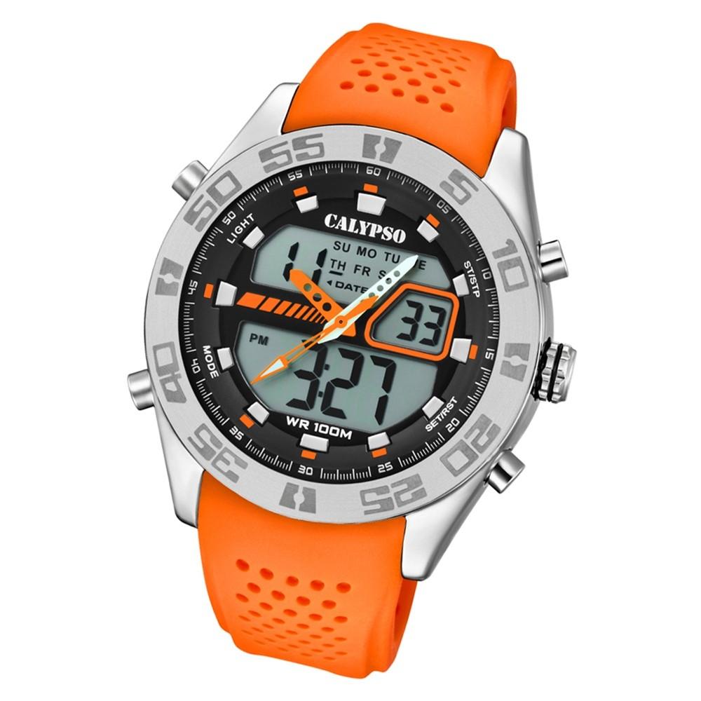 Calypso Herren Armbanduhr Street Style K5774/1 Quarz-Uhr PU orange UK5774/1