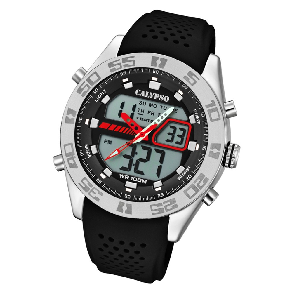 Calypso Herren Armbanduhr Street Style K5774/4 Quarz-Uhr PU schwarz UK5774/4