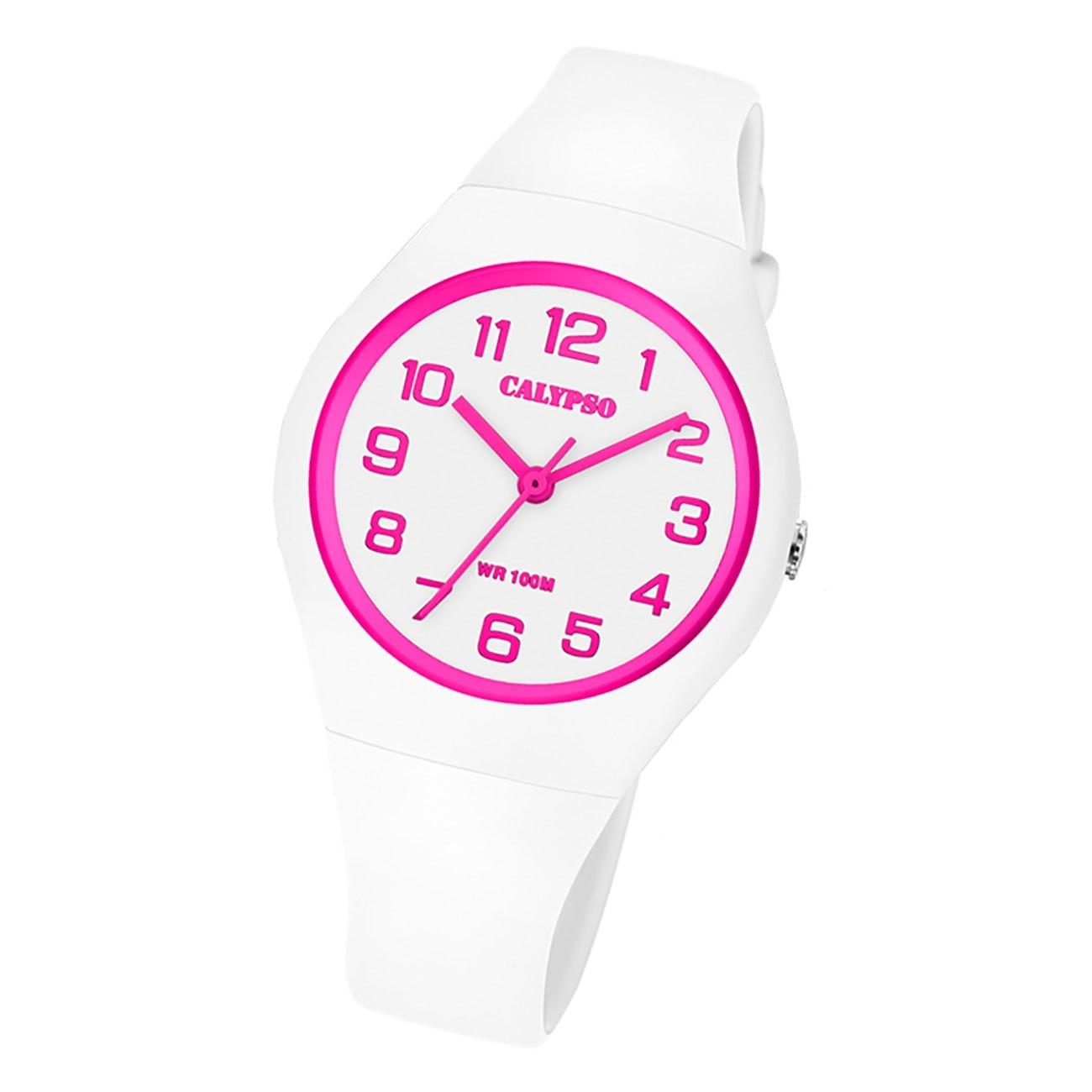 Calypso Damen Jugend Armbanduhr Fashion K5777/5 Analog Kunststoff weiß UK5777/5