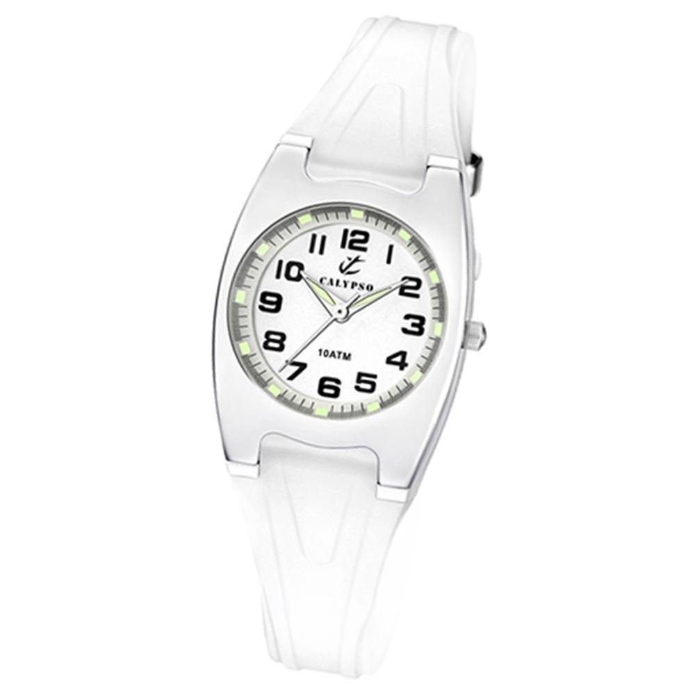 CALYPSO Damen-Armbanduhr Fashion analog Quarz-Uhr PU weiß UK6042/A