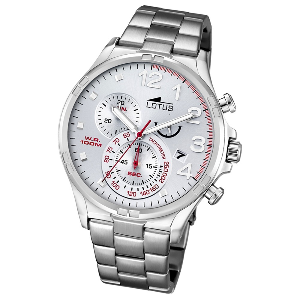 LOTUS Herren-Armbanduhr Chronograph Quarz Edelstahl silber UL10126/1