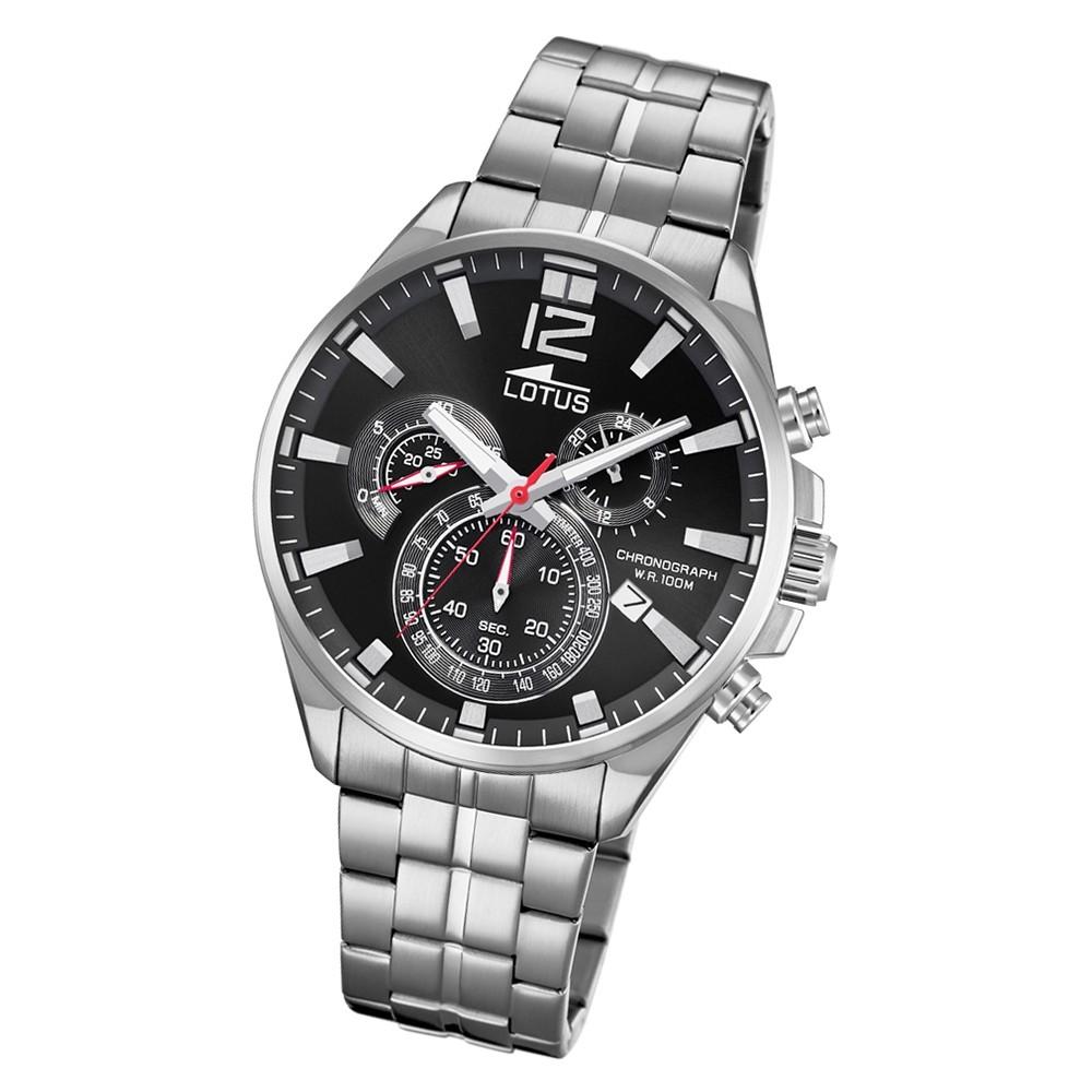 LOTUS Herren Damen Armbanduhr Junior 15651/G Leder schwarz rot UL15651/G UL10136 UL10136/4