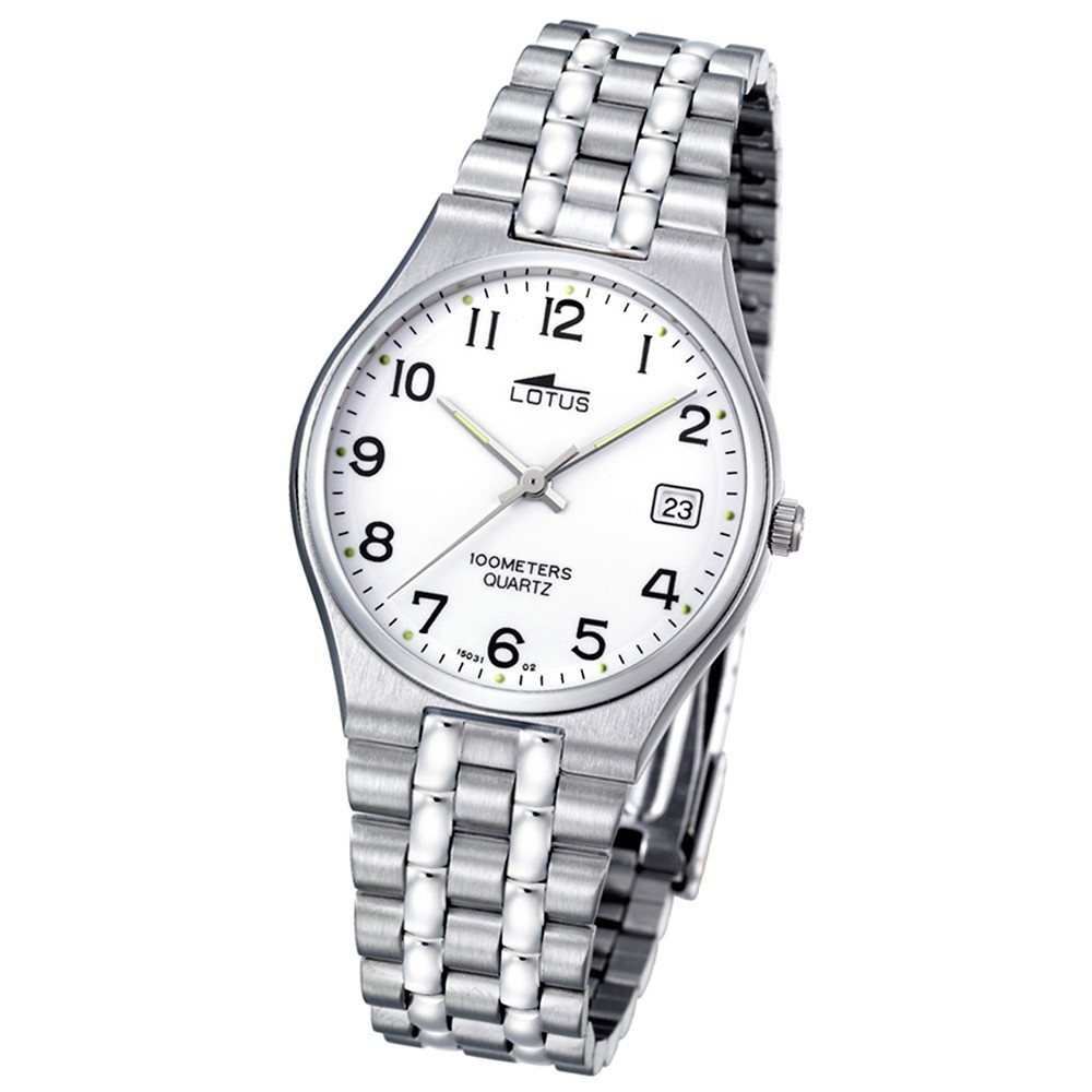 LOTUS Herrenuhr klassisch Analog Quarz Uhr Edelstahl Armband silber UL15031/2