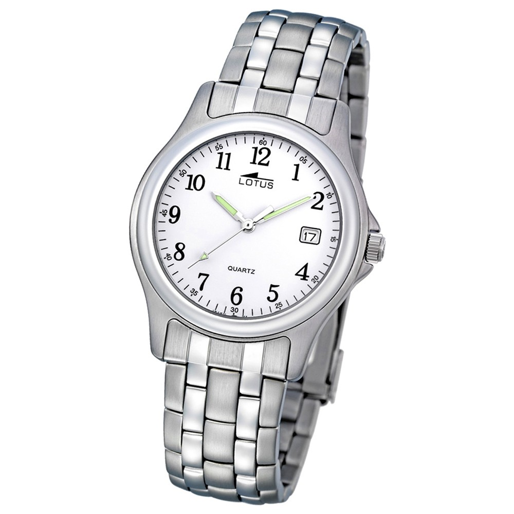LOTUS Herrenuhr klassisch Analog Quarz Uhr Edelstahl Armband silber UL15150/A