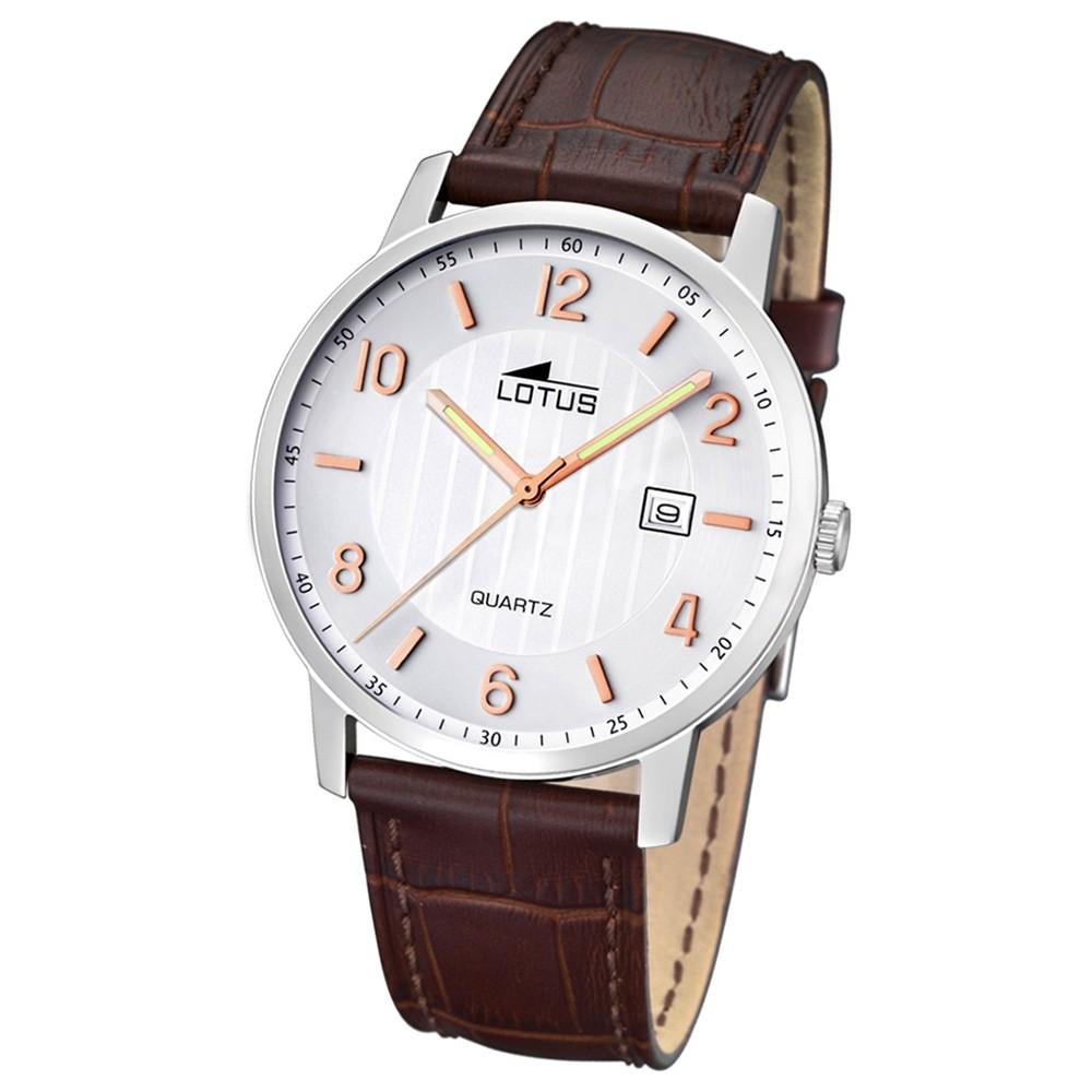 LOTUS Damen/Herrenuhr Lederband klassisch Analog Quarz Uhr Leder UL15620/3