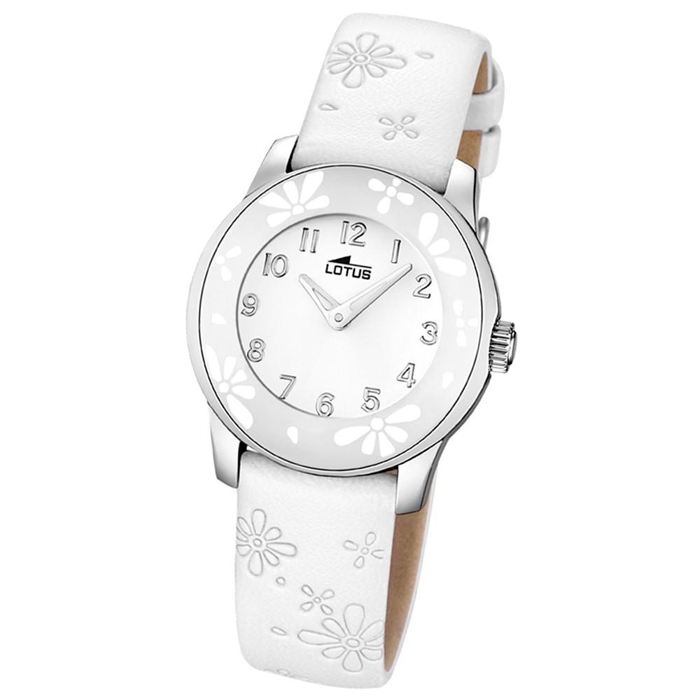 LOTUS Jugenduhr Comuniones Analog Quarz Uhr Leder Armband weiß UL15950/1