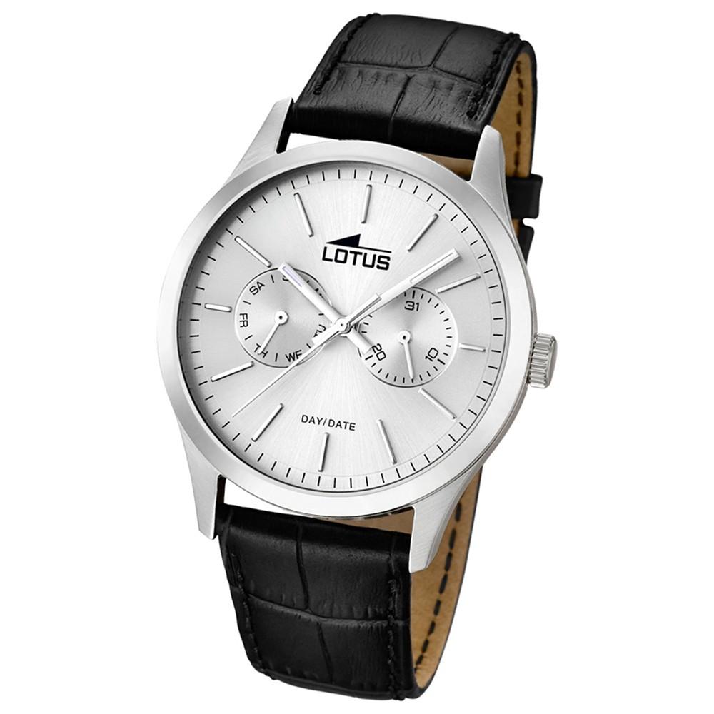 LOTUS Herrenuhr Minimalist Analog Quarz Uhr Leder Armband schwarz UL15956/1