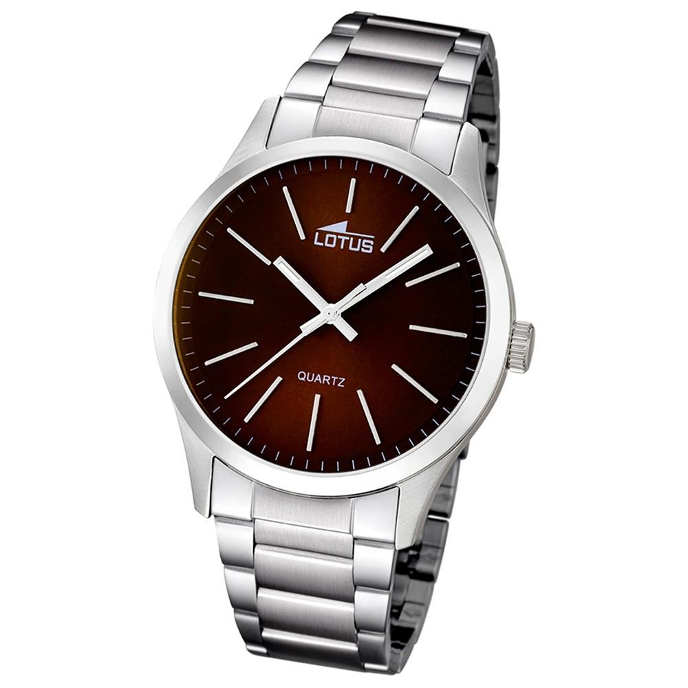 LOTUS Multifunktion Herrenuhr braun, Edelstahlband Minimalist Uhren UL15959/2