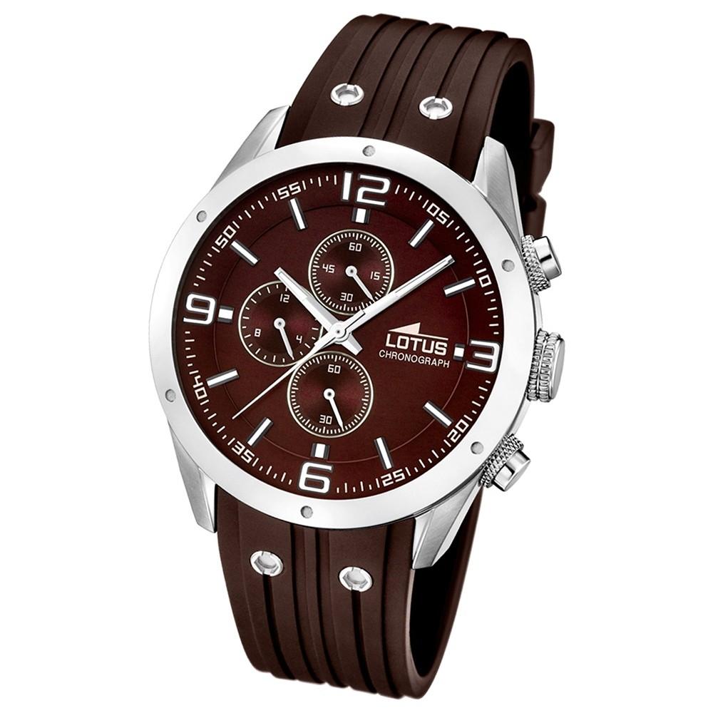 LOTUS Herrenuhr Chronograph Analog Quarz Uhr PU Armband braun UL15969/3