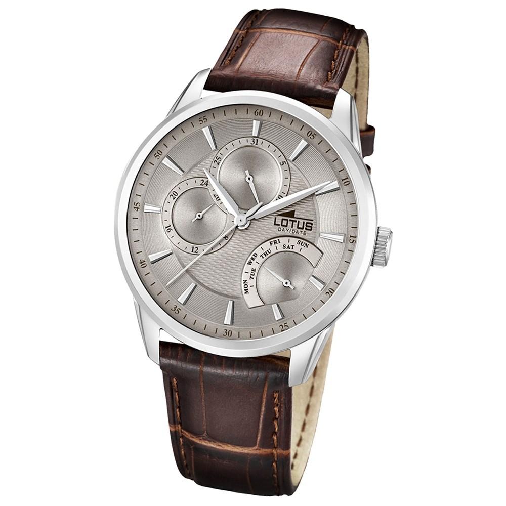 LOTUS Multifunktionsuhr Herrenuhr, braunes Lederband Classic Uhren UL15974/2