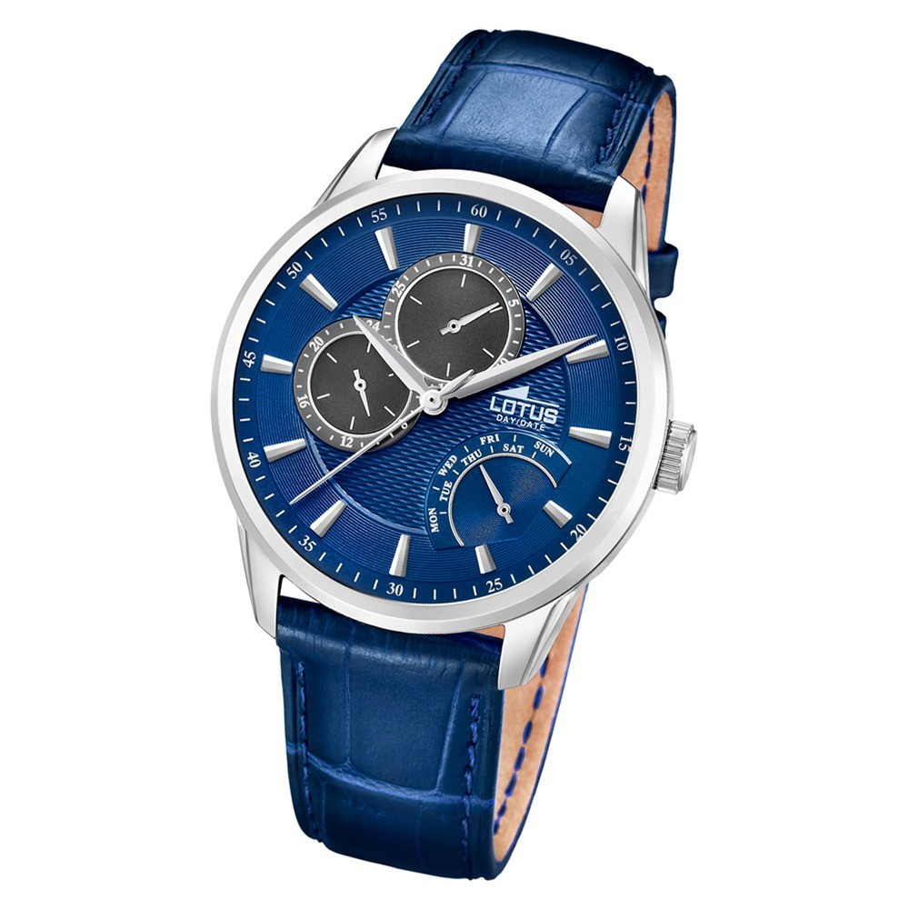 Lotus Herren-Armbanduhr Leder blau 15974/8 Quarz Multifunktion UL15974/8