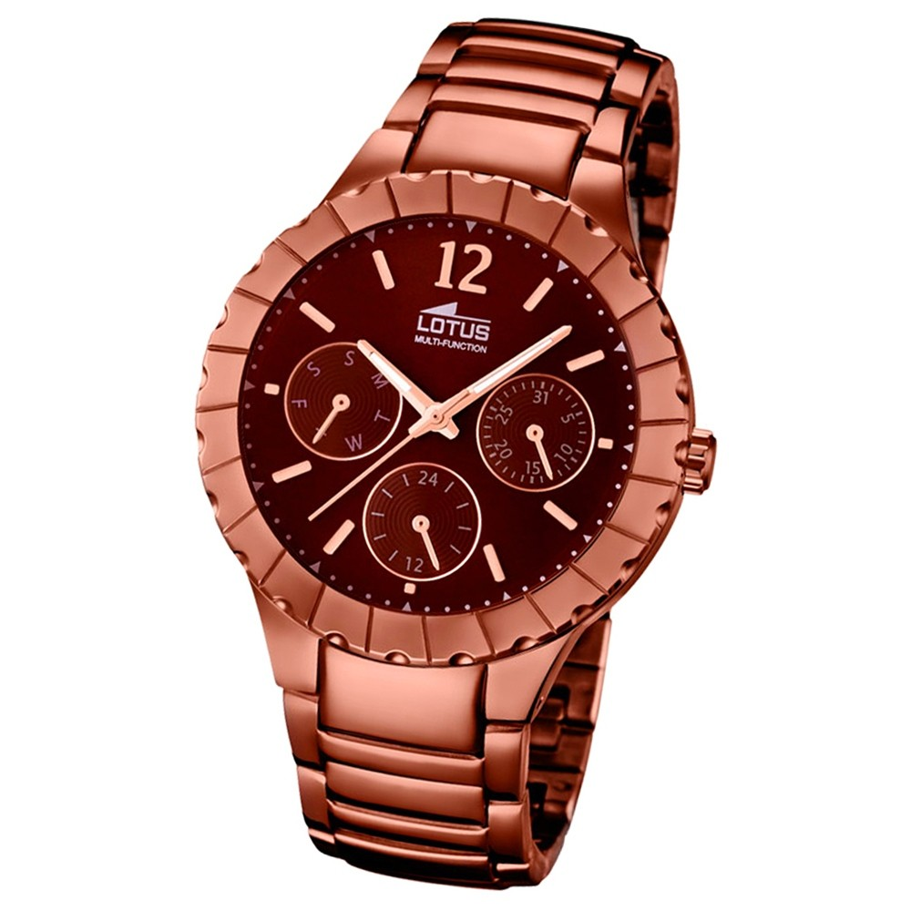 LOTUS Damen-Armbanduhr Multifunktion Analog Quarz-Uhr Edelstahl bronze UL15998/2