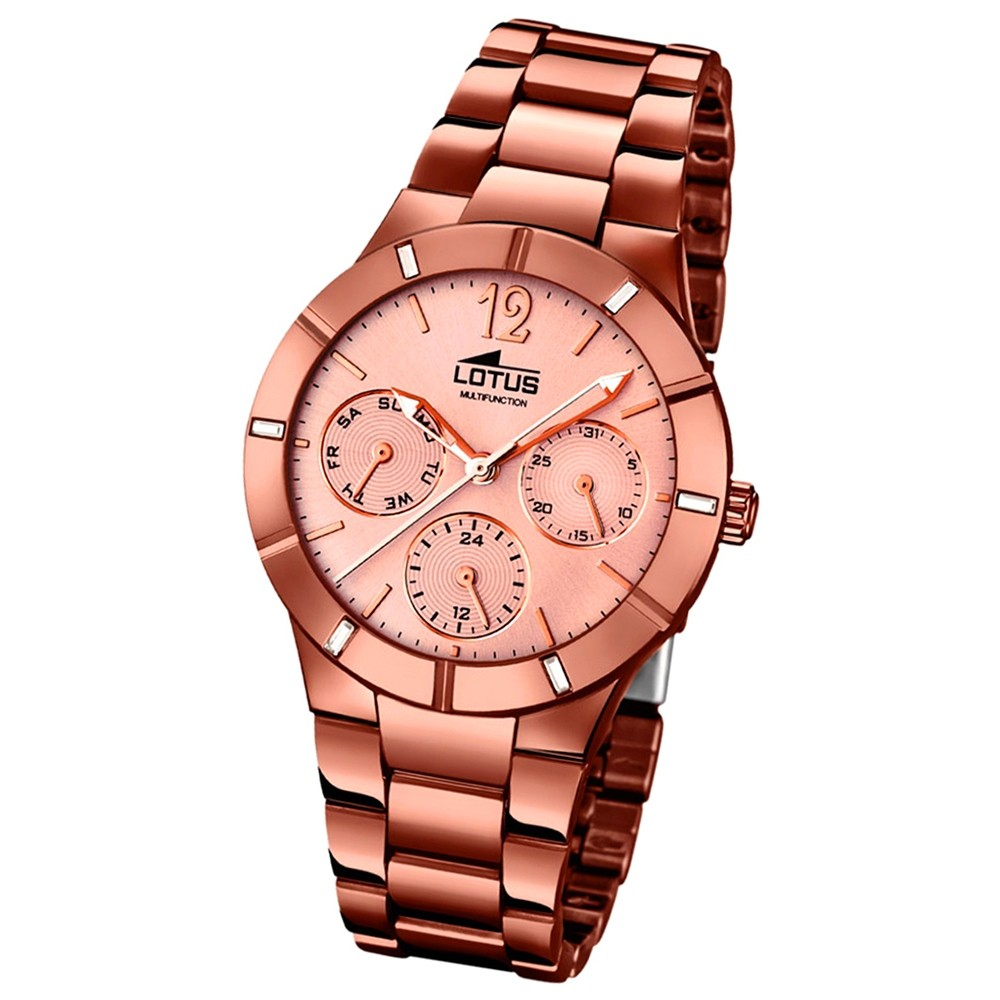 LOTUS Damen-Armbanduhr Multifunktion Analog Quarz-Uhr Edelstahl bronze UL15999/1