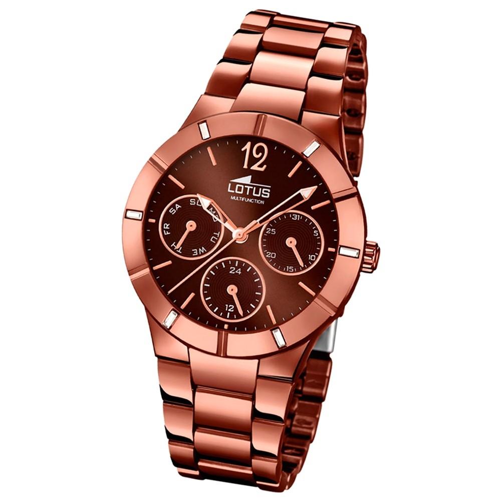 LOTUS Damen-Armbanduhr Multifunktion Analog Quarz-Uhr Edelstahl bronze UL15999/2