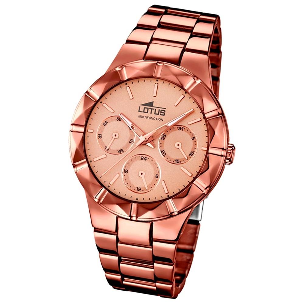 LOTUS Damen-Armbanduhr Multifunktion Analog Quarz-Uhr Edelstahl kupfer UL18101/1