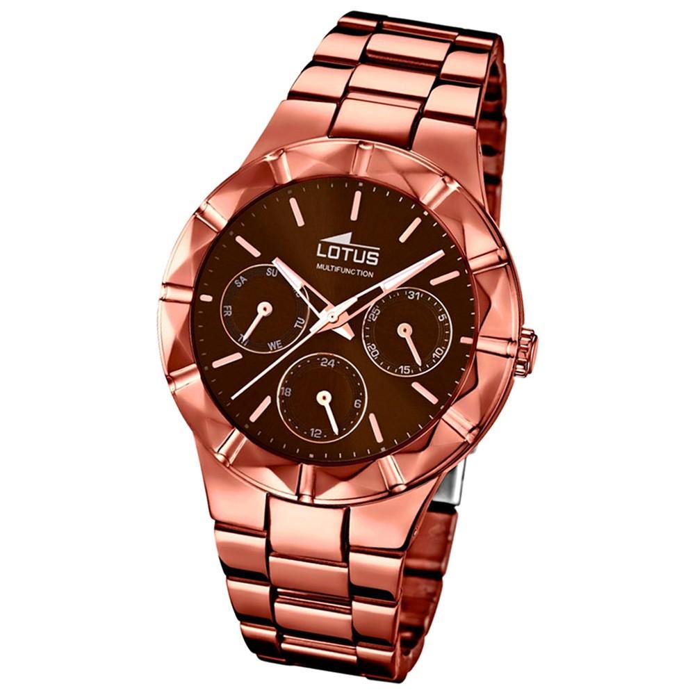 LOTUS Damen-Armbanduhr Multifunktion Analog Quarz-Uhr Edelstahl kupfer UL18101/2