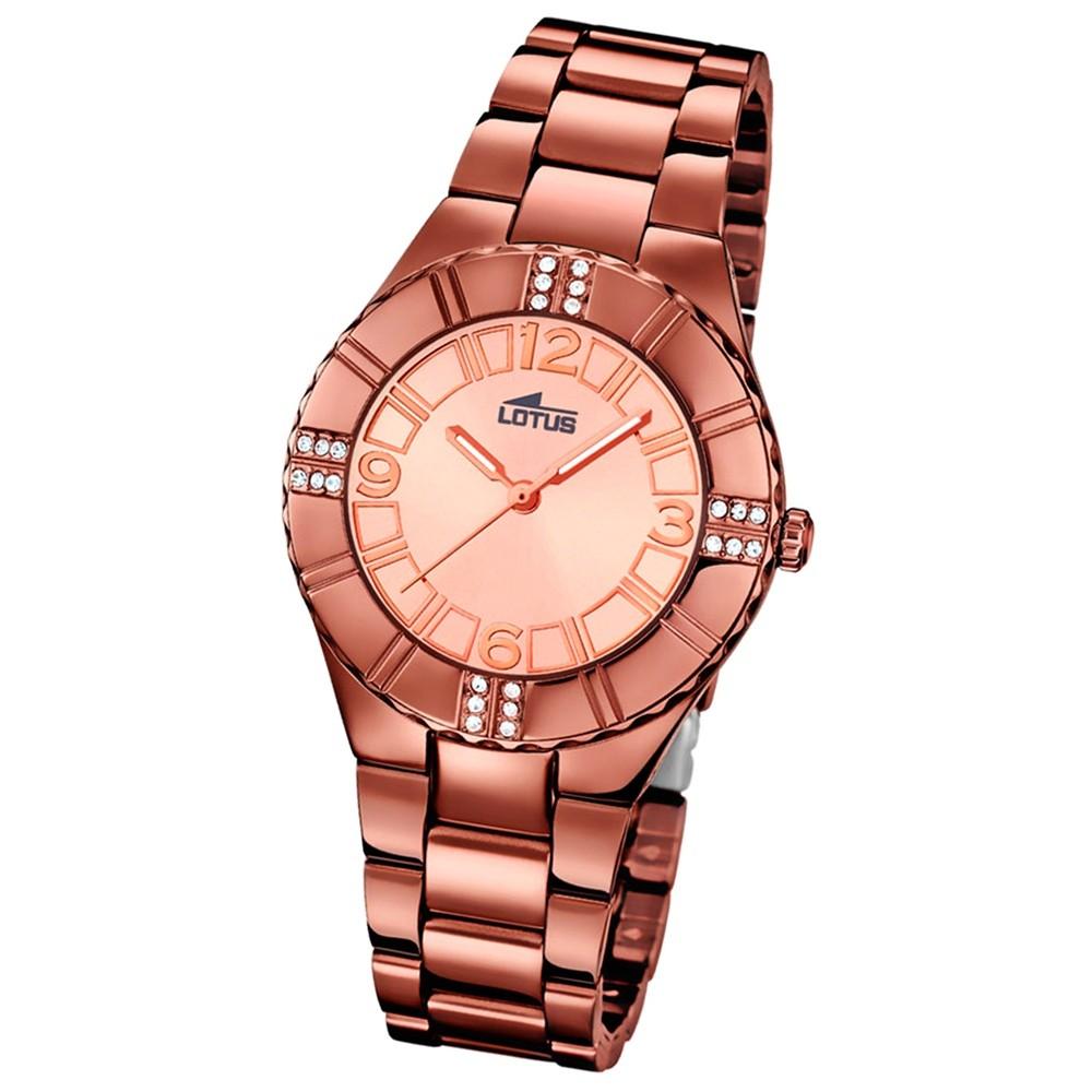 LOTUS Damen-Armbanduhr Trendy Analog Quarz-Uhr Edelstahl kupfer UL18102/1