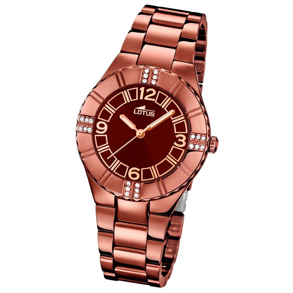 LOTUS Damen-Armbanduhr Trendy Analog Quarz-Uhr Edelstahl kupfer UL18102/2