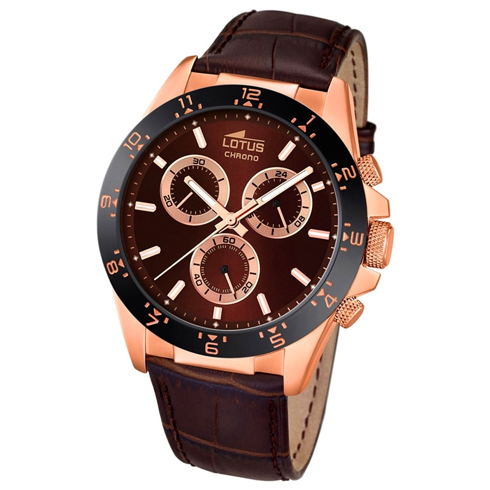 LOTUS Herren-Uhr - Minimalist - Analog - Quarz - Leder Klassik Uhr UL18158/3