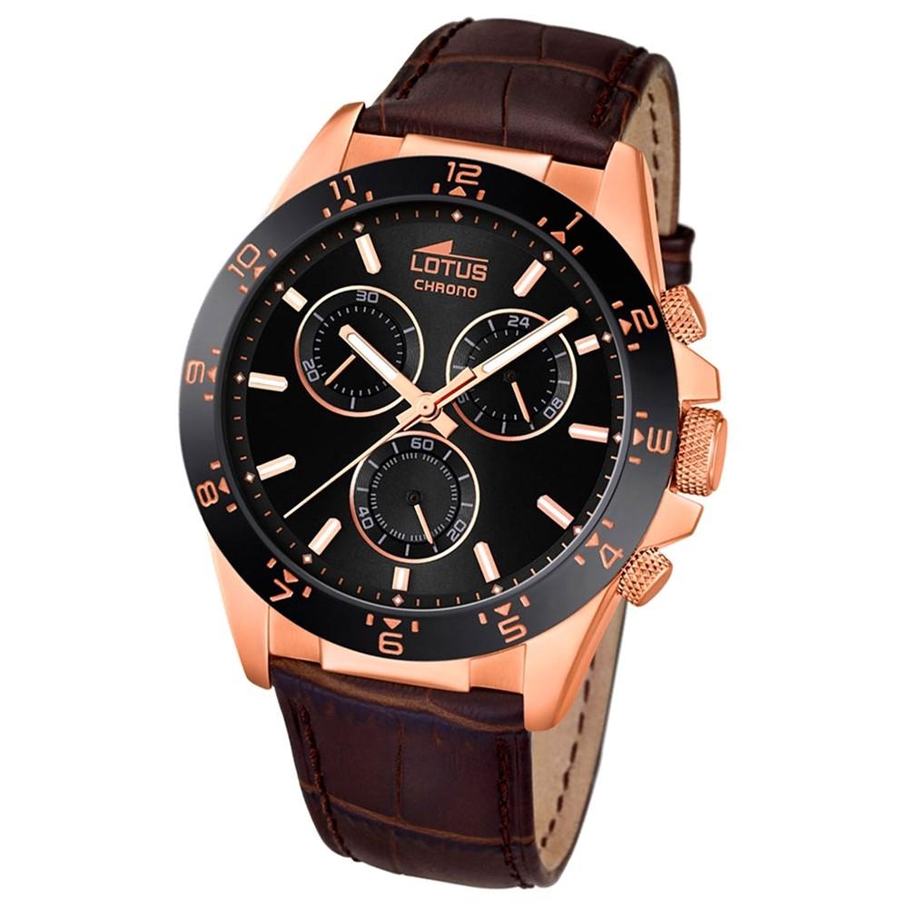 LOTUS Herren-Armbanduhr Minimalist Chronograph Quarz-Uhr Leder braun UL18158/5