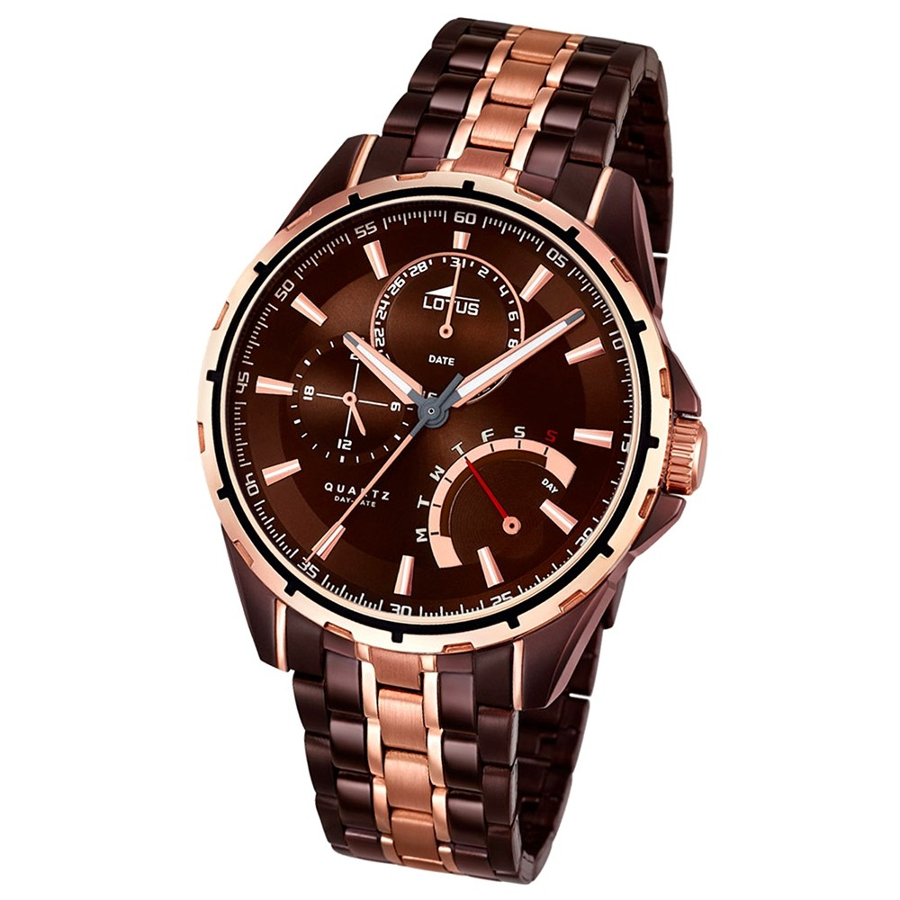 LOTUS Herrenuhr Smart Casual Multifunktion Quarz Uhr Edelstahl bronze UL18206/1