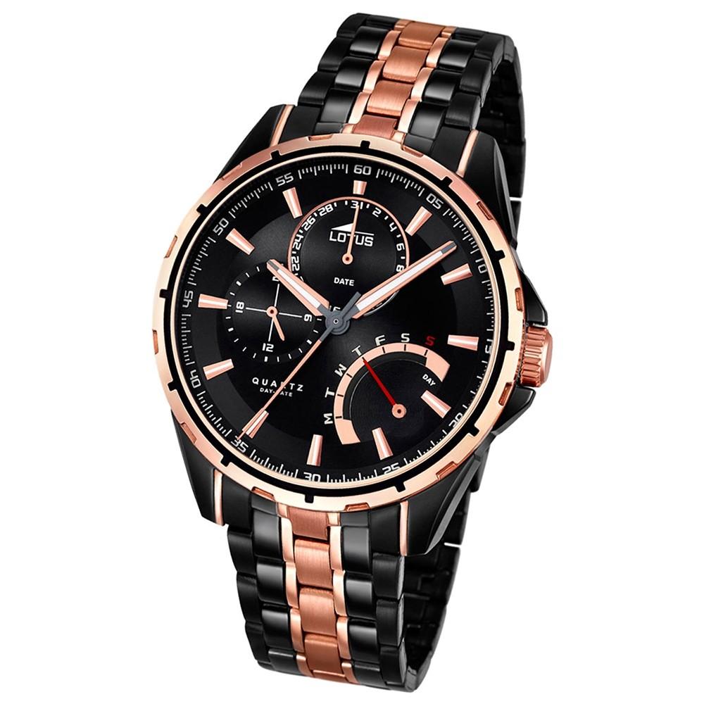 LOTUS Herrenuhr Smart Casual Multifunktion Quarz Uhr Edelstahl schwarz UL18207/1