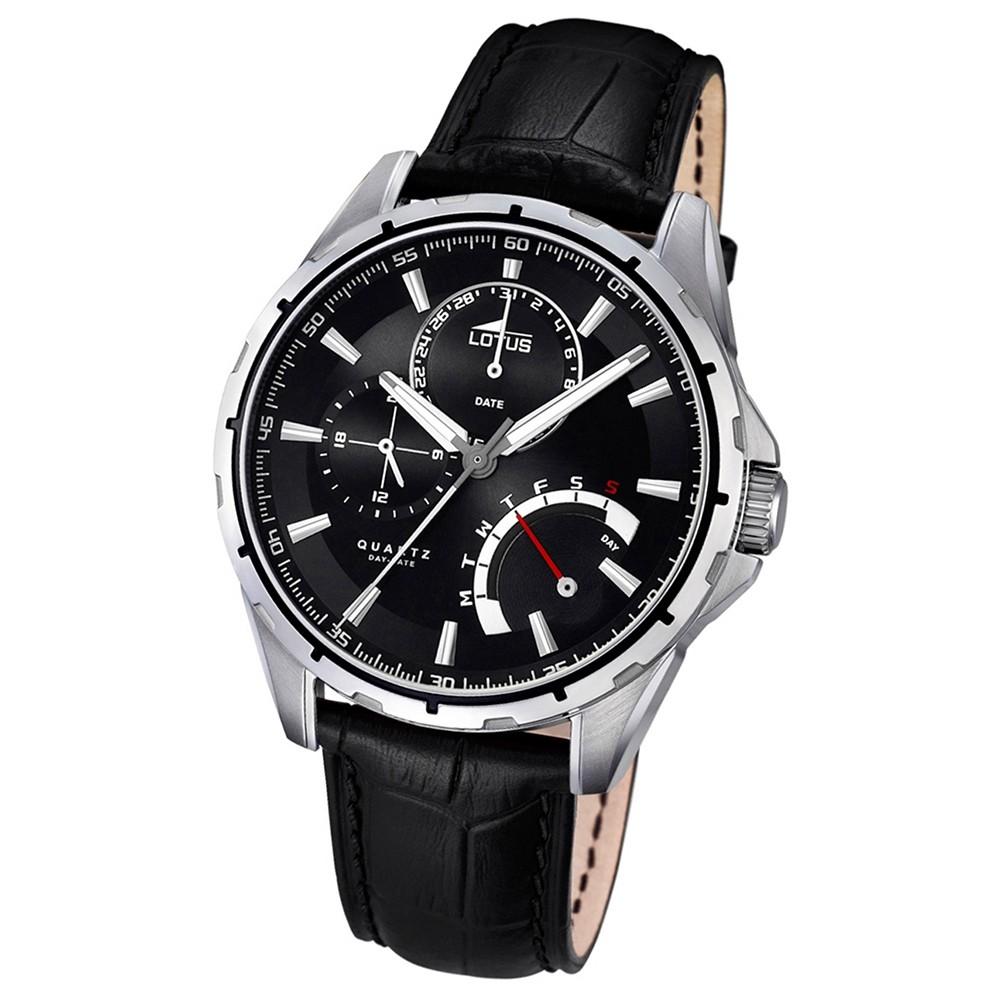LOTUS Herren-Armbanduhr Multifunktion Quarz Leder schwarz UL18208/2