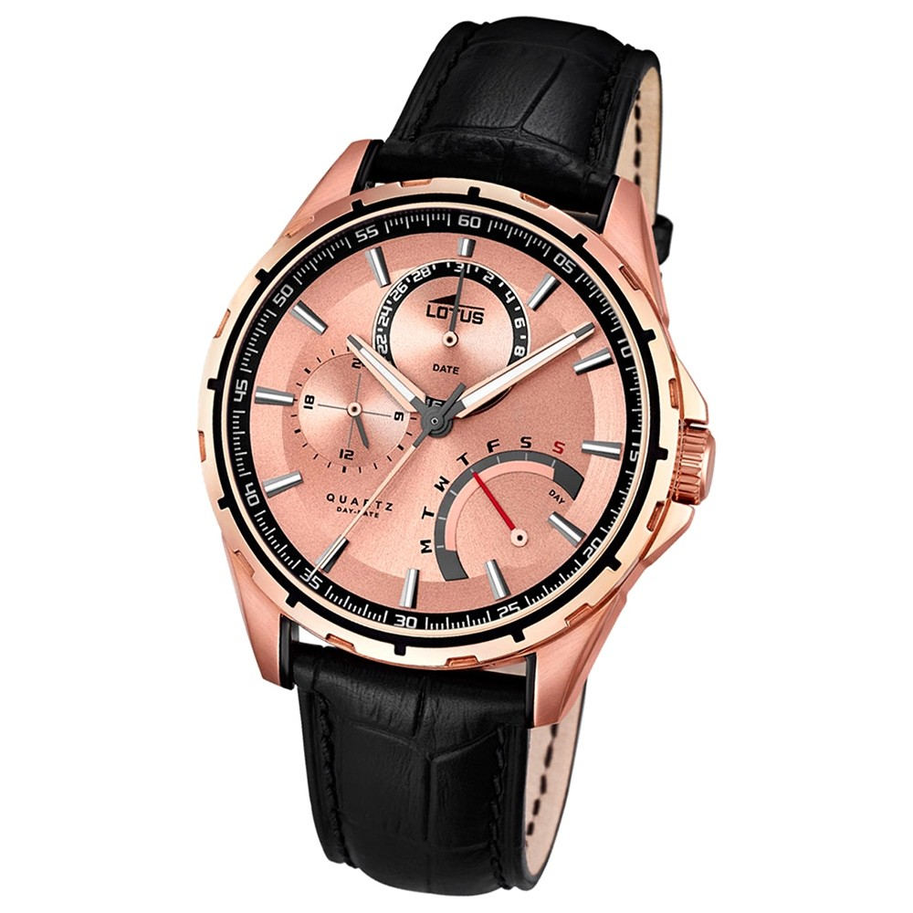 LOTUS Herrenuhr Smart Casual Multifunktion Quarz Uhr Leder schwarz UL18209/1
