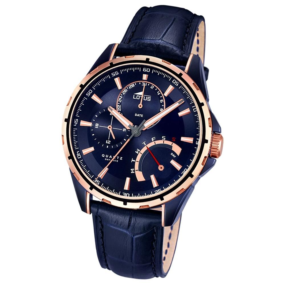 LOTUS Herrenuhr Smart Casual Multifunktion Quarz Uhr Leder blau UL18210/1