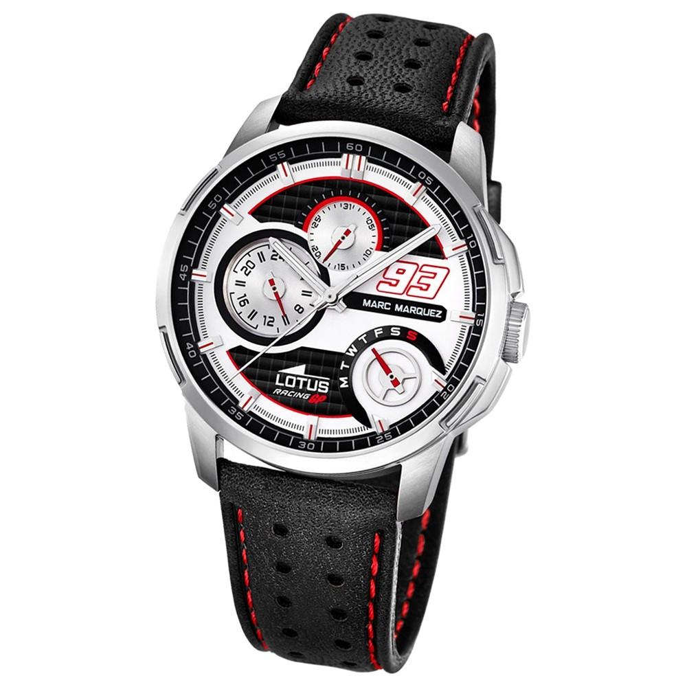LOTUS Herren-Armbanduhr Marc Marquez Analog Quarz-Uhr Leder schwarz UL18241/1