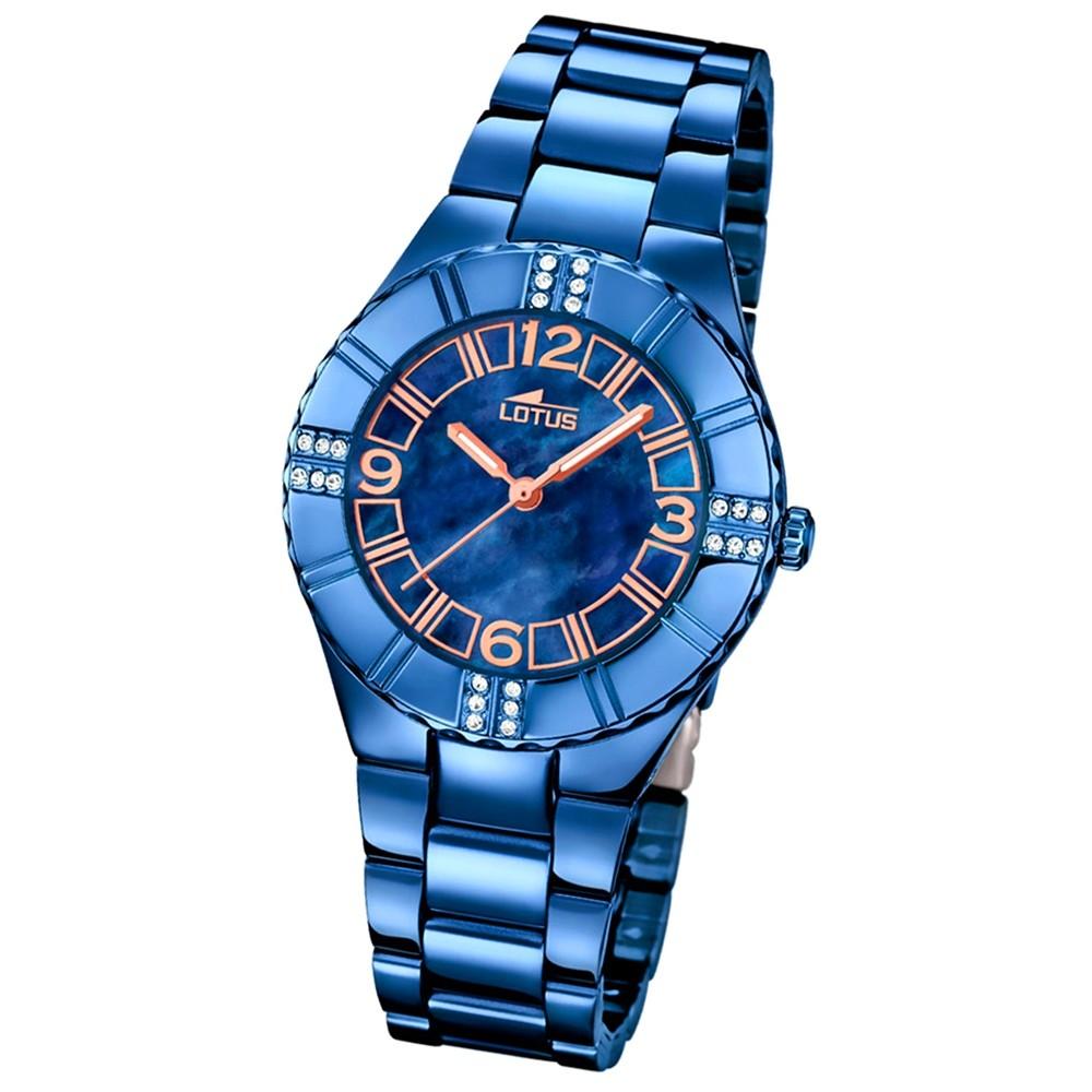 LOTUS Damen-Armbanduhr Trendy Analog Quarz-Uhr Edelstahl blau UL18247/2