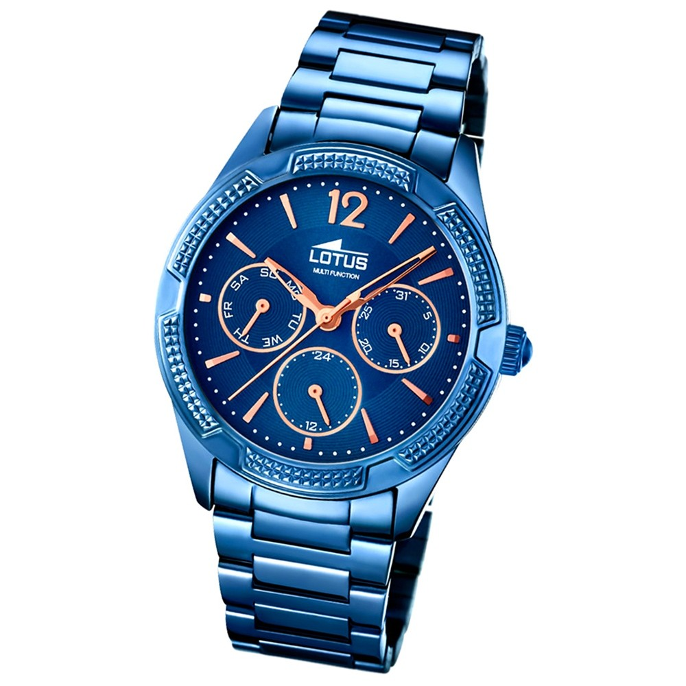 LOTUS Damen-Armbanduhr Trendy Analog Quarz-Uhr Edelstahl blau UL18248/2