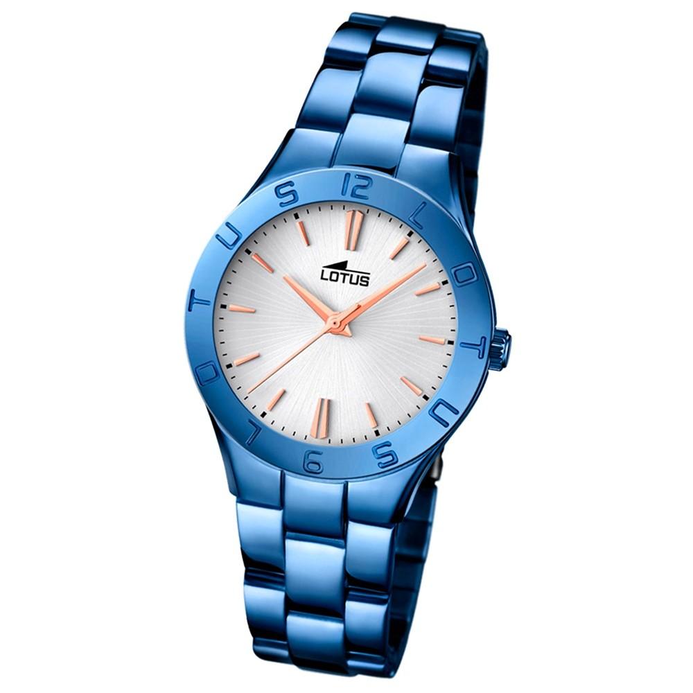 LOTUS Damen-Armbanduhr Trendy Analog Quarz-Uhr Edelstahl blau UL18249/1