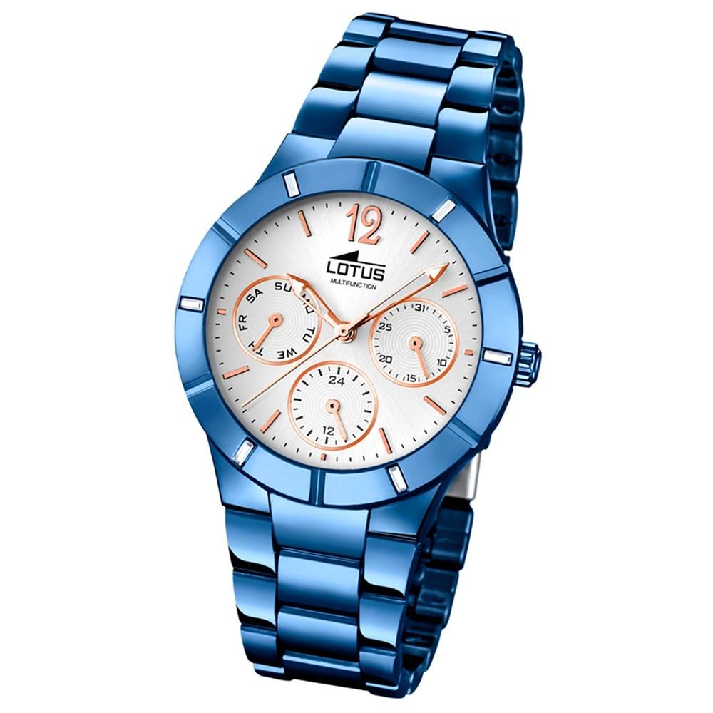 LOTUS Damen-Armbanduhr Trendy Analog Quarz-Uhr Edelstahl blau UL18250/1