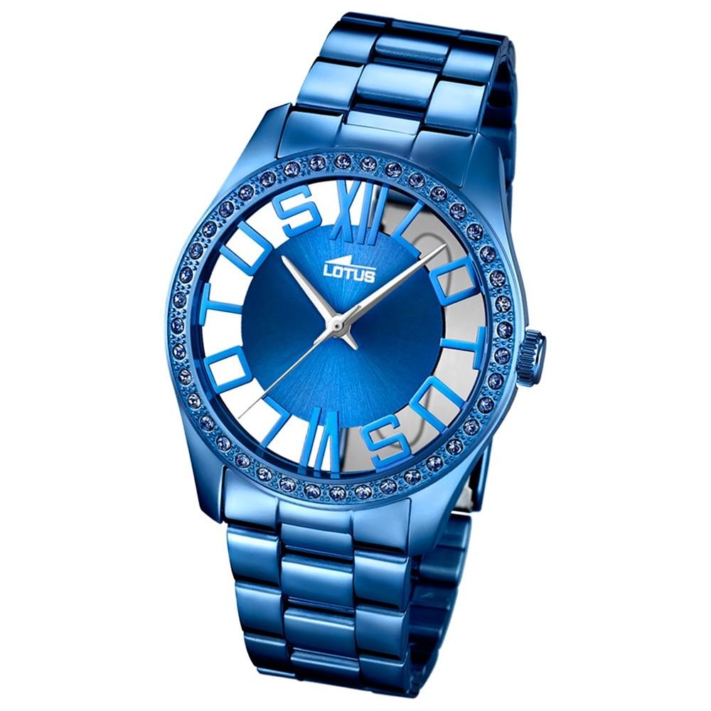 LOTUS Damen-Armbanduhr Trendy Analog Quarz-Uhr Edelstahl blau UL18251/1