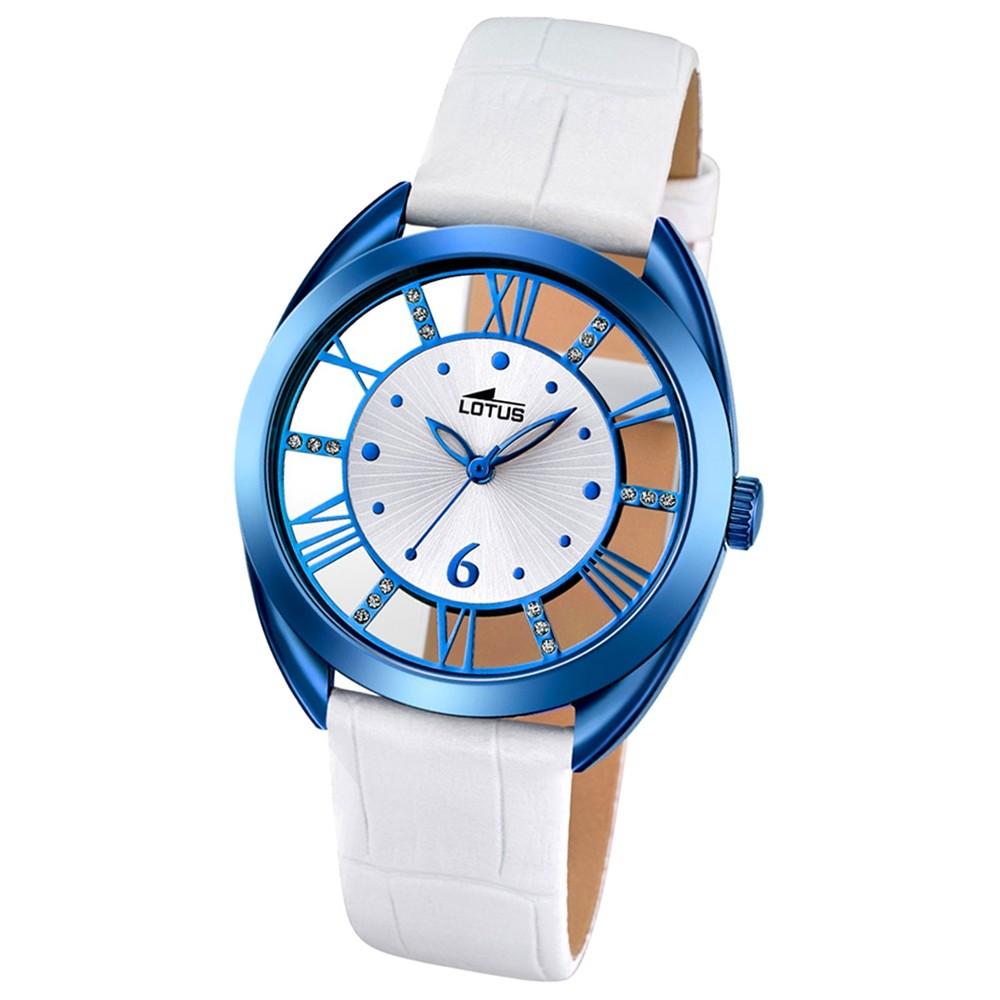 LOTUS Damen-Armbanduhr Trendy Analog Quarz-Uhr Leder weiß UL18253/1